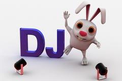 3d在dj零件的兔子跳舞在迪斯科下点燃概念 图库摄影