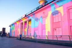 3d在Poshtova广场的激光展示在Kyiv,乌克兰 05 14 2017年 社论 免版税库存图片