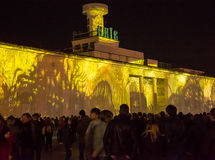 3d在Poshtova广场的激光展示在Kyiv,乌克兰 05 14 2017年 社论 库存照片