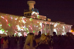3d在Poshtova广场的激光展示在Kyiv,乌克兰 05 14 2017年 社论 图库摄影