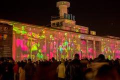3d在Poshtova广场的激光展示在Kyiv,乌克兰 05 14 2017年 社论 免版税图库摄影