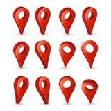3d地图尖传染媒介 在与软的阴影的白色背景隔绝的集合红色导航员标志 GPS地点标志,导航员信号 免版税库存照片