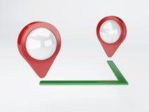 3d地图尖 旅行和航海概念 免版税库存照片