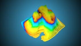 3D地形图与色的层数的背景概念,回报抽象例证 皇族释放例证