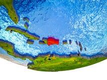 3D地球上的多米尼加共和国 皇族释放例证