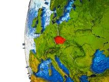 3D地球上的捷克共和国 库存图片