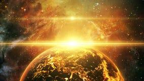 3D地球在从空间介绍商标行动背景的夜之前 股票视频
