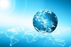 3d地球展望期线路回报了空间 最佳的企业概念概念全球地球发光的现有量互联网系列 用装备的这个图象的元素  免版税库存照片