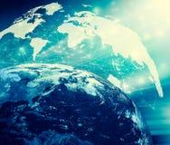 3d地球展望期线路回报了空间 最佳的企业概念概念全球地球发光的现有量互联网系列 用装备的这个图象的元素  库存图片