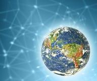 3d地球展望期线路回报了空间 最佳的企业概念概念全球地球发光的现有量互联网系列 用装备的这个图象的元素  免版税图库摄影