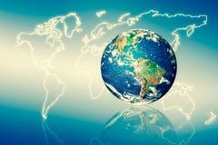3d地球展望期线路回报了空间 最佳的企业概念概念全球地球发光的现有量互联网系列 用装备的这个图象的元素  图库摄影