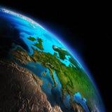 3d地球展望期线路回报了空间 免版税库存图片
