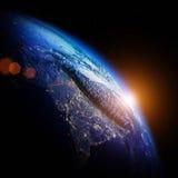 3d地球展望期线路回报了空间 图库摄影