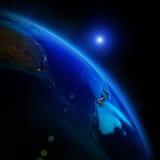 3d地球展望期线路回报了空间 库存照片