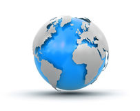 3d地球(包括的裁减路线) 库存图片