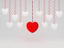 3d垂悬的心脏有白色背景 库存照片