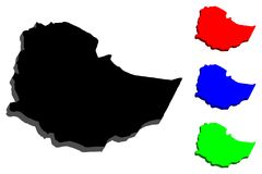 3D埃塞俄比亚的地图 库存例证