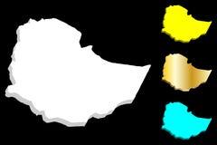 3D埃塞俄比亚的地图 向量例证