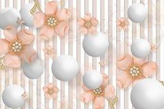 3D壁画式照片的墙纸设计与珠宝, florals和upholstry 免版税图库摄影
