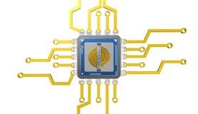 3d处理器的例证在数字式背景的与钥匙 库存照片