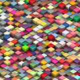3d多个二面对切的明亮的颜色的多维数 图库摄影
