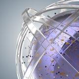 3d多彩多姿的圆环球形在云彩的从多彩多姿的下落 免版税库存照片