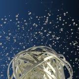 3d多彩多姿的圆环球形在云彩的从多彩多姿的下落 免版税库存图片