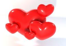3d多红色心脏 免版税库存图片