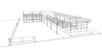 3D大厦wireframe  免版税库存照片