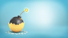 3d大铁球翻译与一根被点燃的保险丝的显露在一个残破的金黄蛋壳里面 免版税库存照片