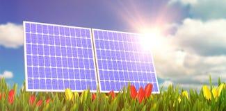 3d太阳电池板数字式综合  免版税库存图片