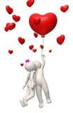 3d夫妇飞行与一个红色心脏气球情人节 免版税库存图片