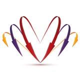 3d套以心脏的形式箭头 免版税图库摄影
