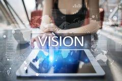 3d女实业家指向远见字的概念现有量 事务、互联网和技术概念 免版税库存图片