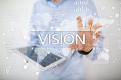 3d女实业家指向远见字的概念现有量 事务、互联网和技术概念 库存图片