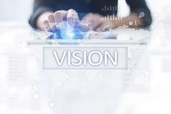 3d女实业家指向远见字的概念现有量 事务、互联网和技术概念 免版税图库摄影