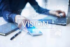 3d女实业家指向远见字的概念现有量 事务、互联网和技术概念 图库摄影