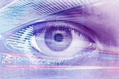 3d女实业家指向远见字的概念现有量 免版税库存图片