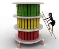 3d妇女冠上文件概念的攀登梯子 图库摄影