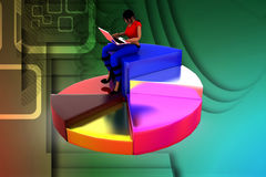 3D妇女坐圆形统计图表例证 免版税库存照片