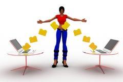 3d妇女文件夹文件传输概念 免版税图库摄影