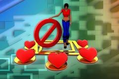 3d妇女爱-停止它例证 免版税图库摄影