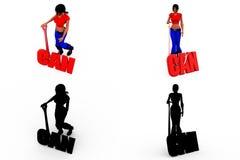 3d妇女能与阿尔法和阴影海峡的概念汇集 免版税库存图片