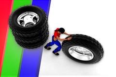 3d妇女轮胎例证 免版税库存图片