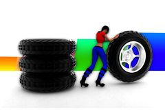 3d妇女轮胎例证 免版税图库摄影