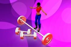3d妇女重的重量illustraton 库存图片