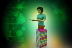 3d妇女阅读书,教育概念 免版税库存图片