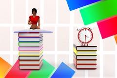 3d妇女阅读书-近闹钟由例证 免版税库存照片