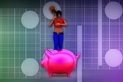 3d妇女piggybank例证 免版税库存图片
