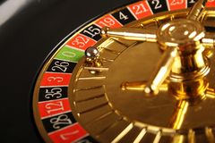 3d娱乐场图象被回报的轮盘赌 库存照片